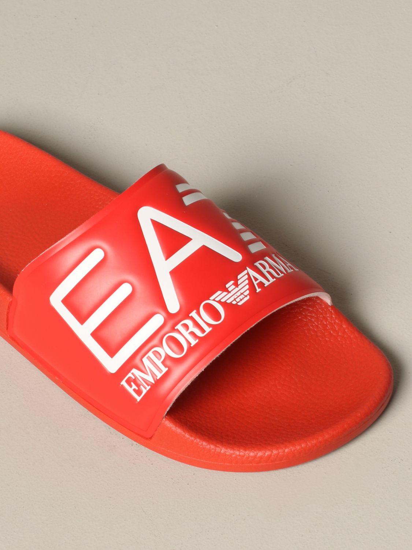 Sandalo EA7 Swimwear in gomma con logo rosso 4