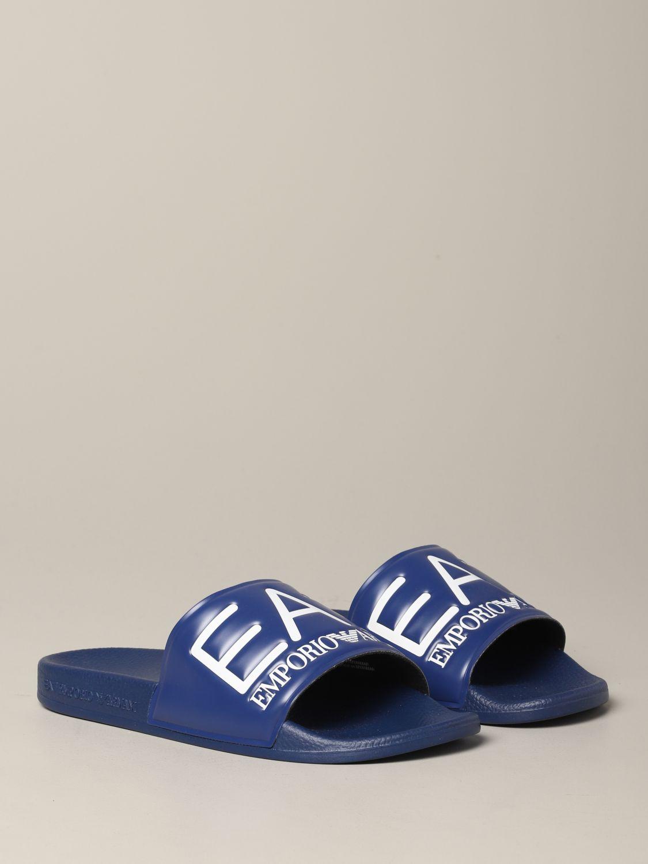 Sandalo EA7 Swimwear in gomma con logo royal 2