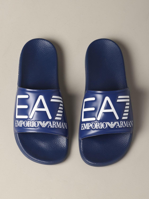Sandalo EA7 Swimwear in gomma con logo royal 3