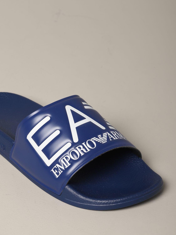 Sandalo EA7 Swimwear in gomma con logo royal 4