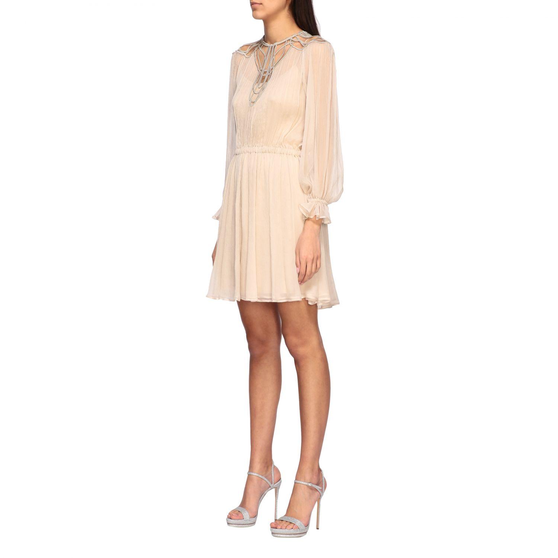 连衣裙 Alberta Ferretti: Alberta Ferretti 刺绣真丝连衣裙 沙色 3