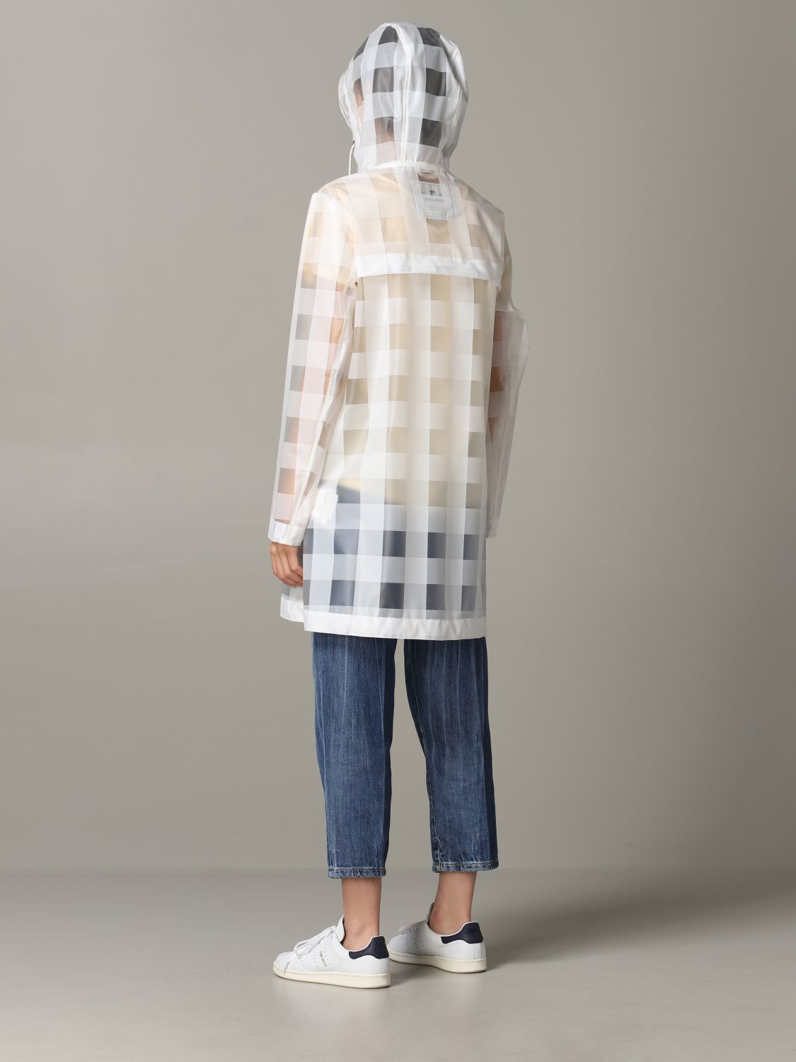 Woolrich coat in check rubber with hood transparent 3