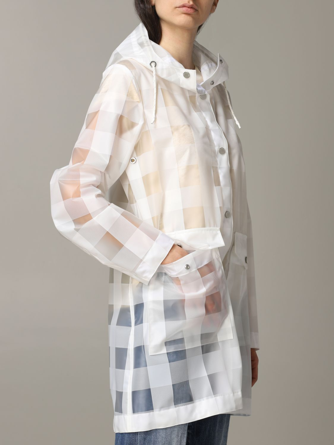 Woolrich coat in check rubber with hood transparent 5