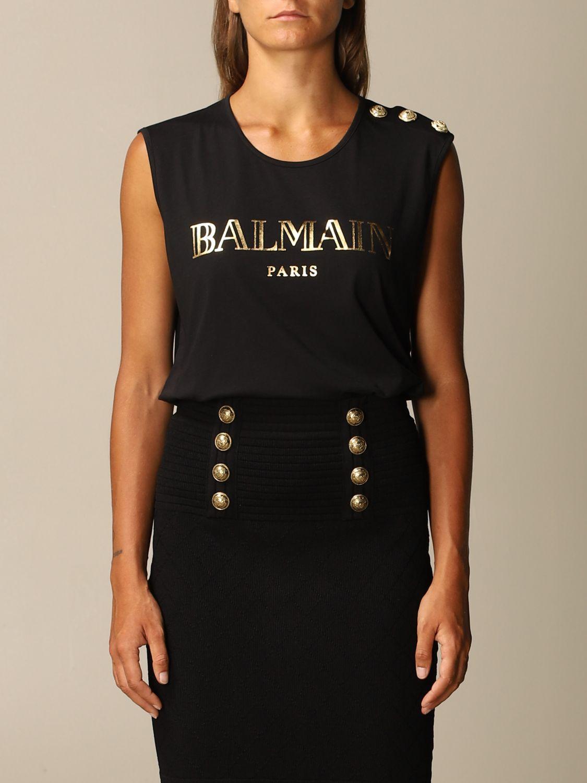 T-Shirt Balmain: Balmain cotton tank top with logo and buttons black 1