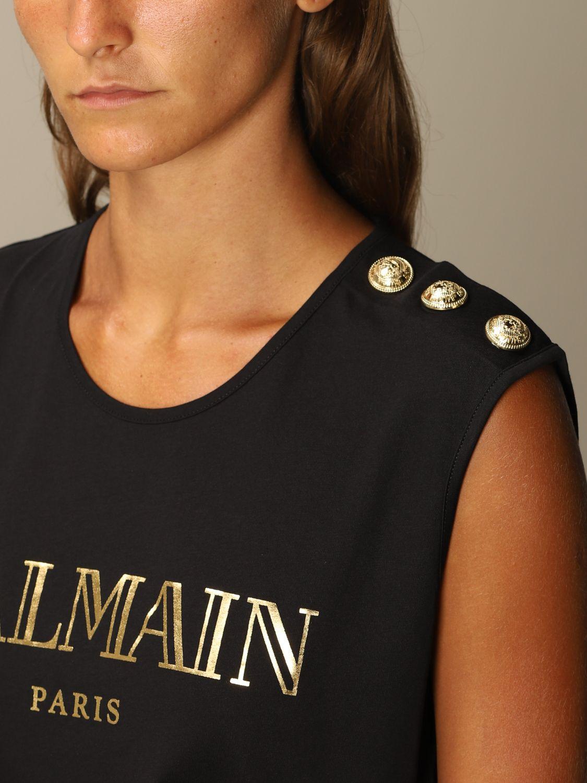 T-Shirt Balmain: Balmain cotton tank top with logo and buttons black 5