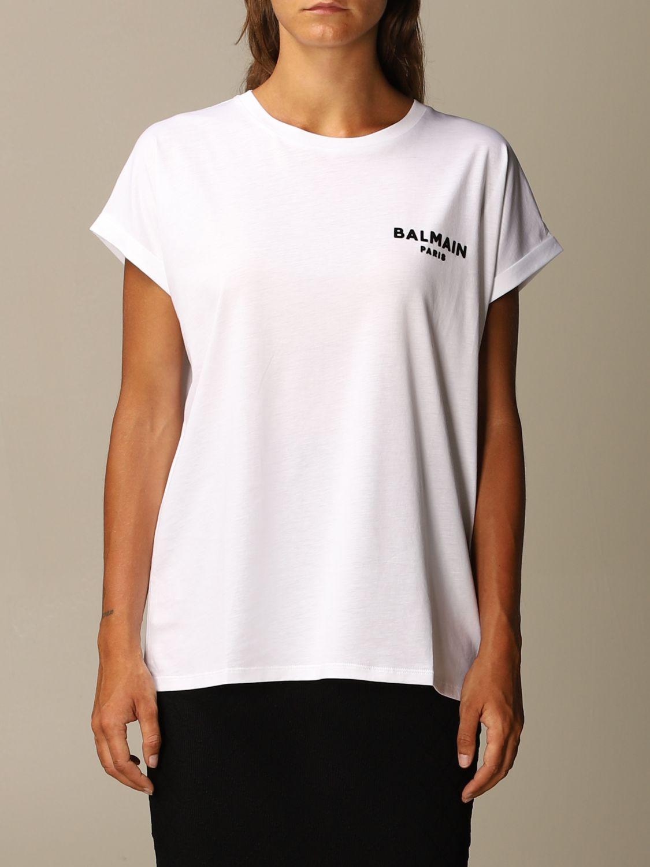 T-Shirt Balmain: Balmain cotton T-shirt with mini flock logo white 1