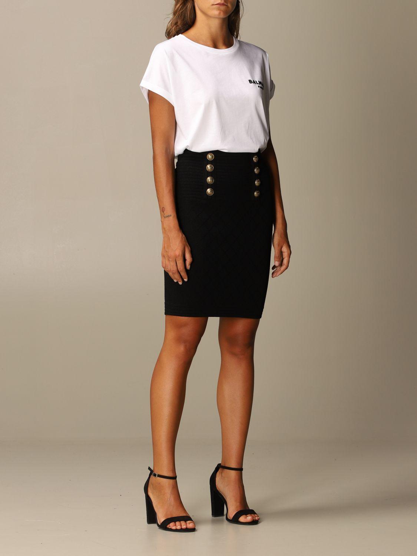 T-Shirt Balmain: Balmain cotton T-shirt with mini flock logo white 2