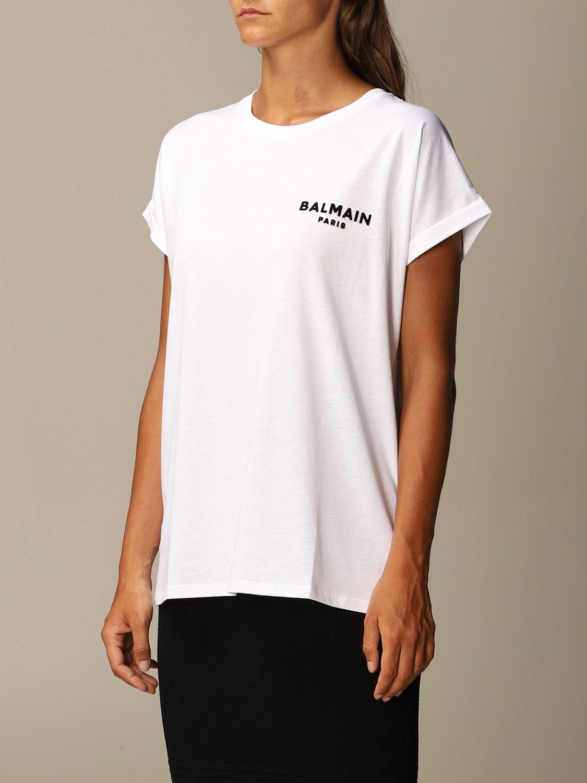 T-Shirt Balmain: Balmain cotton T-shirt with mini flock logo white 4