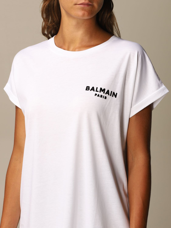 T-Shirt Balmain: Balmain cotton T-shirt with mini flock logo white 5