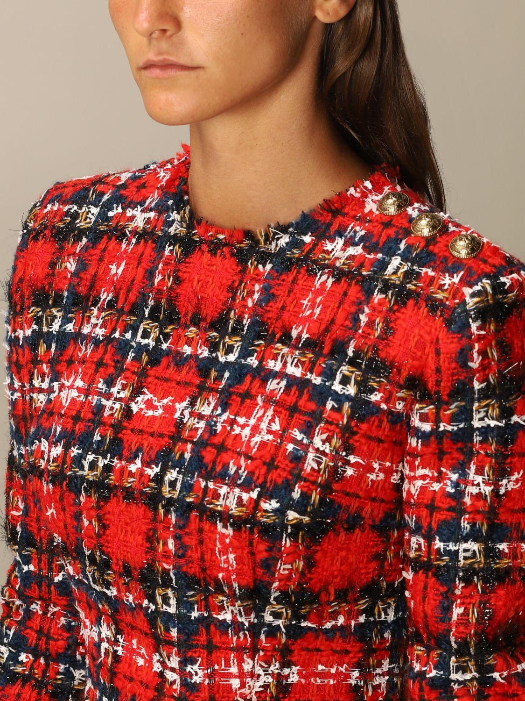 Abito Balmain: Abito Balmain in tweed tartan rosso 4