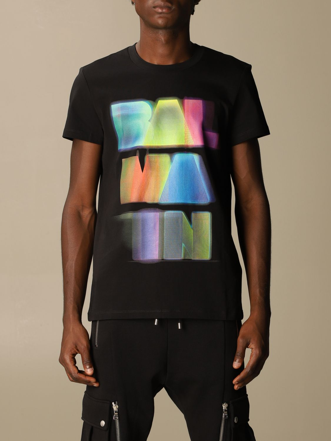 T-shirt Balmain: Balmain cotton T-shirt with neon logo black 1