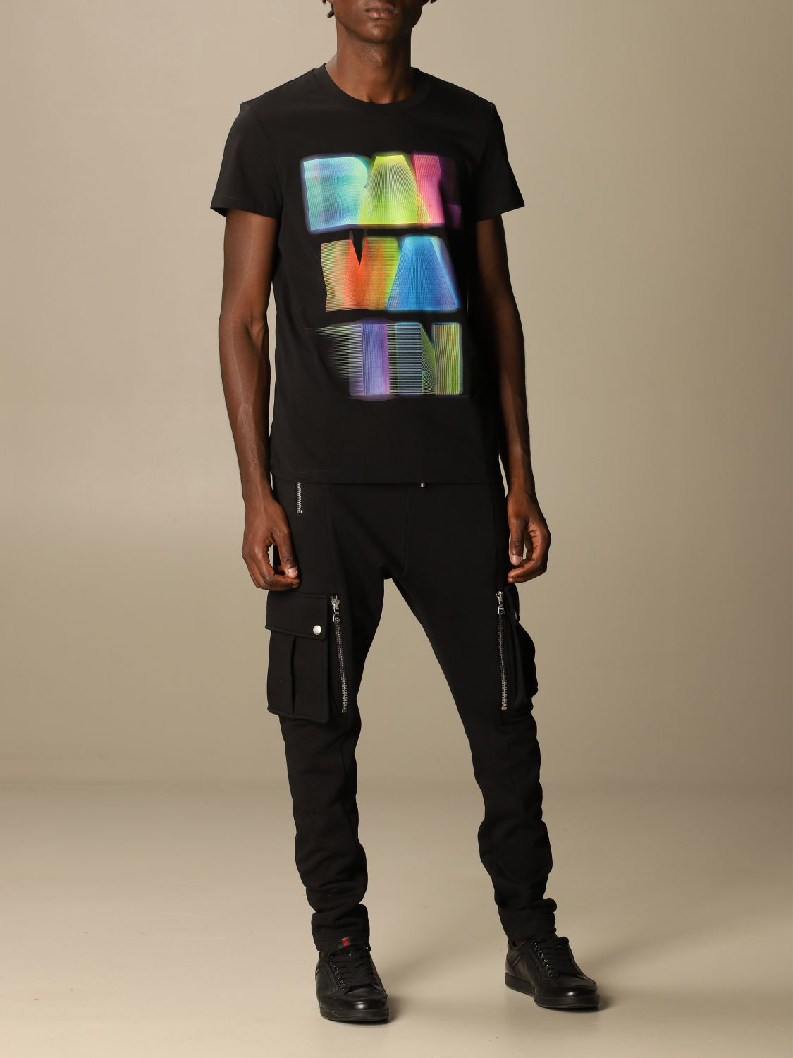 T-shirt Balmain: Balmain cotton T-shirt with neon logo black 2
