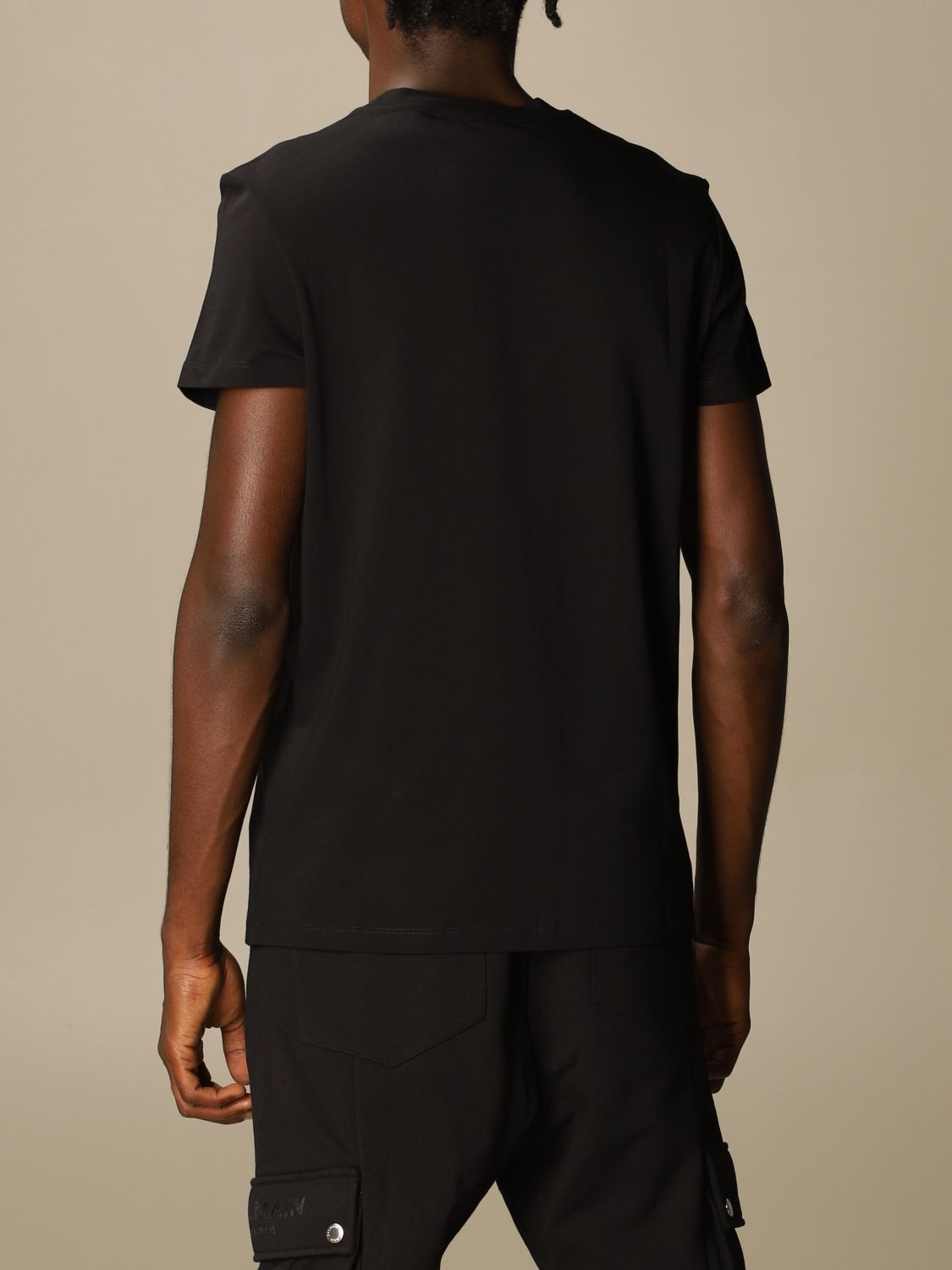 T-shirt Balmain: Balmain cotton T-shirt with neon logo black 3