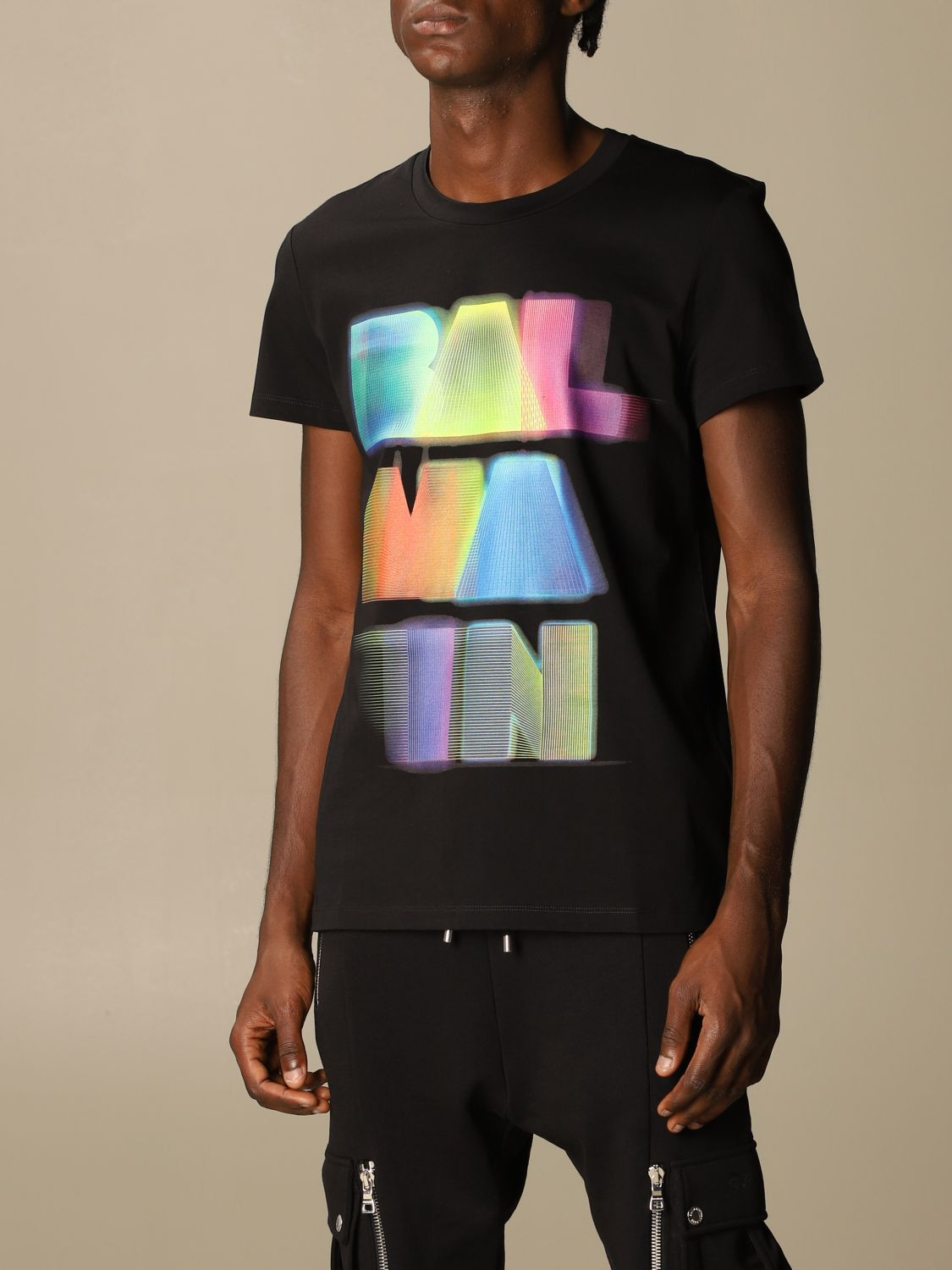 T-shirt Balmain: Balmain cotton T-shirt with neon logo black 4