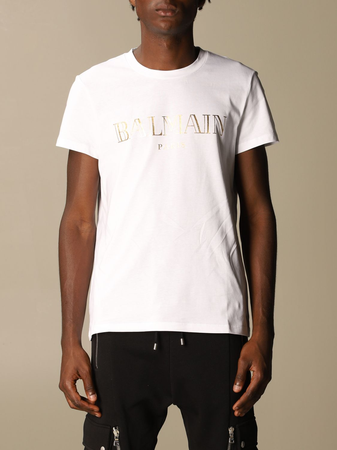 T-shirt Balmain: Balmain cotton T-shirt with laminated logo white 1