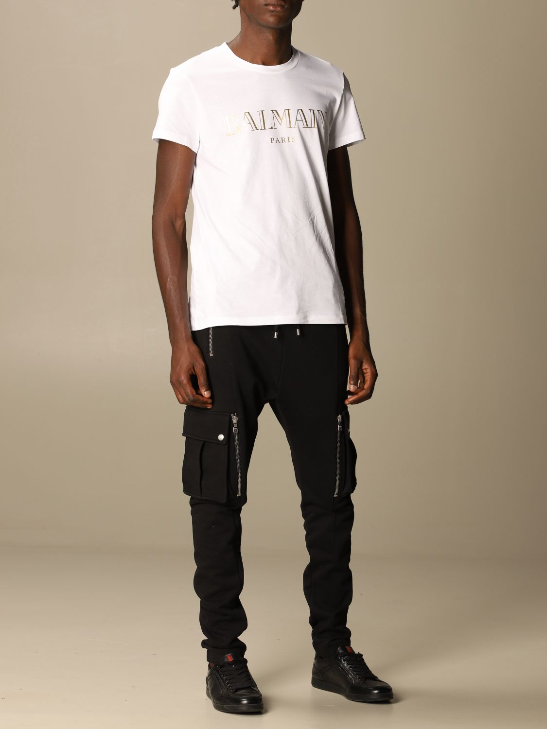 T-shirt Balmain: Balmain cotton T-shirt with laminated logo white 2