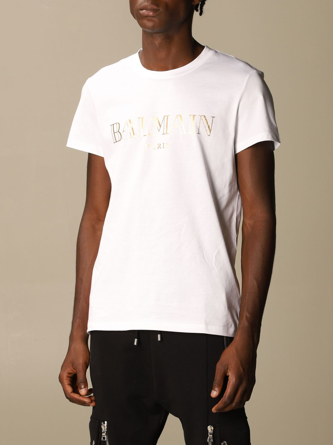 T-shirt Balmain: Balmain cotton T-shirt with laminated logo white 4