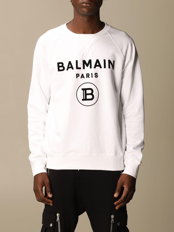 Sweatshirt Balmain: Balmain cotton sweatshirt with flock logo white 1