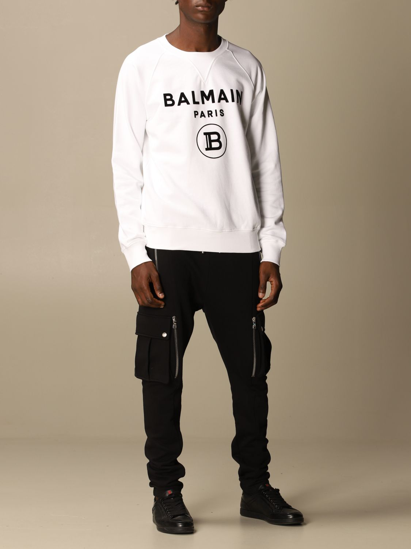 Sweatshirt Balmain: Balmain cotton sweatshirt with flock logo white 2