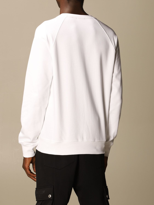 Sweatshirt Balmain: Balmain cotton sweatshirt with flock logo white 3
