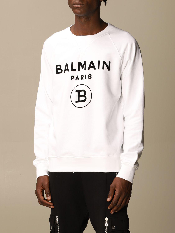 Sweatshirt Balmain: Balmain cotton sweatshirt with flock logo white 4