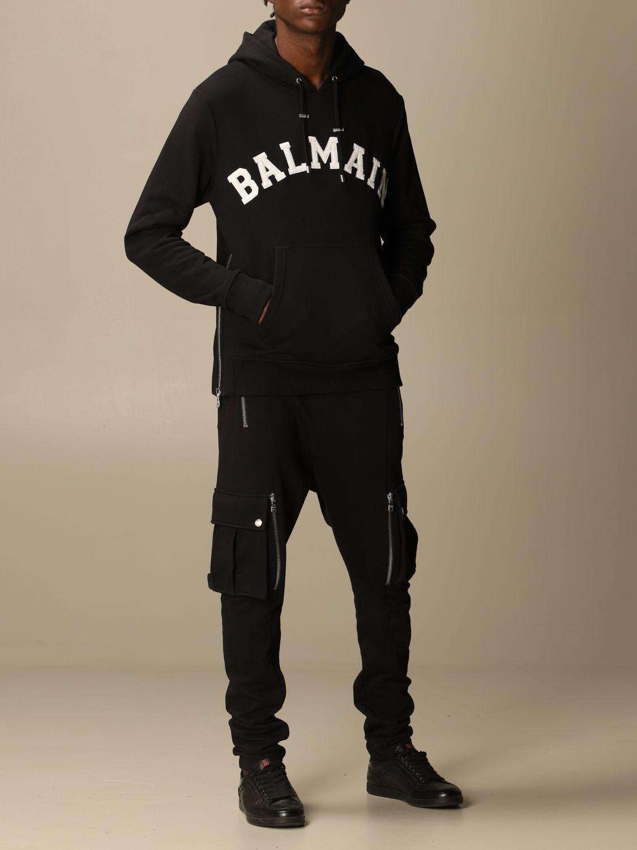 Sweatshirt Balmain: Balmain cotton sweatshirt with hood and logo black 2