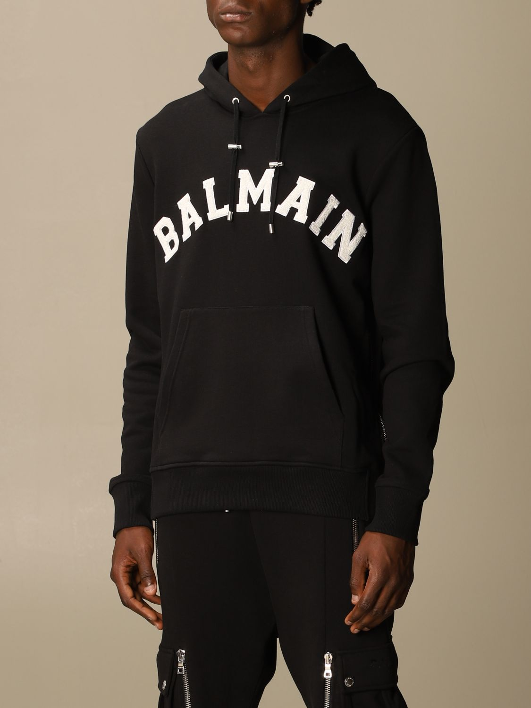 Sweatshirt Balmain: Balmain cotton sweatshirt with hood and logo black 4