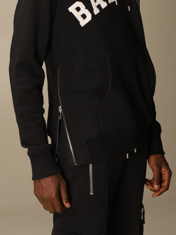 Sweatshirt Balmain: Balmain cotton sweatshirt with hood and logo black 5