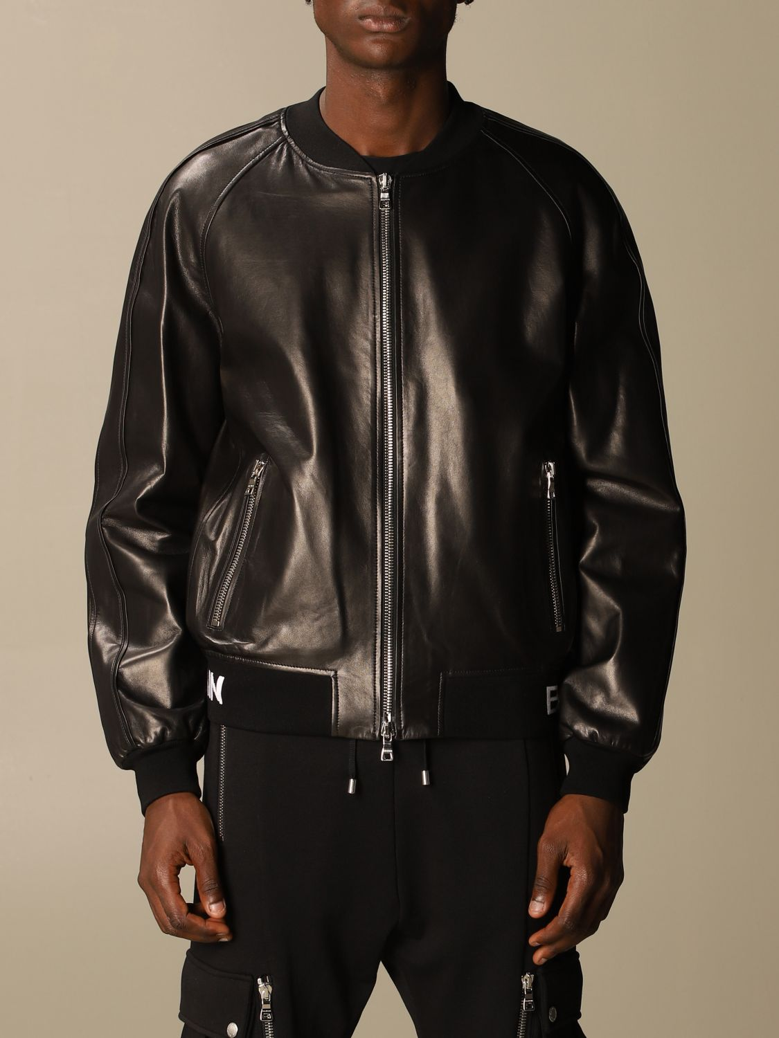 Jacket Balmain: Balmain leather bomber jacket with logo band black 1