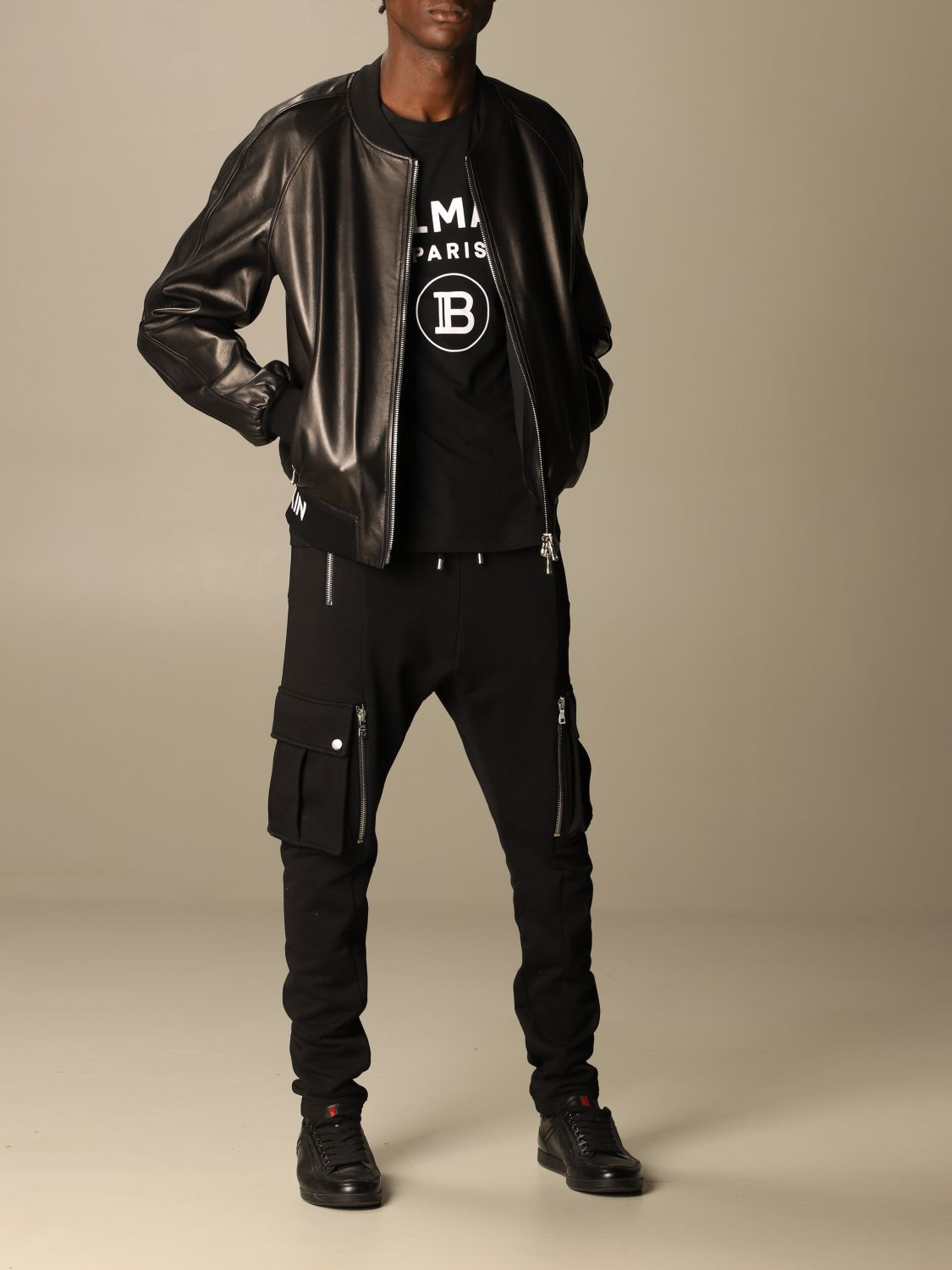 Jacket Balmain: Balmain leather bomber jacket with logo band black 2