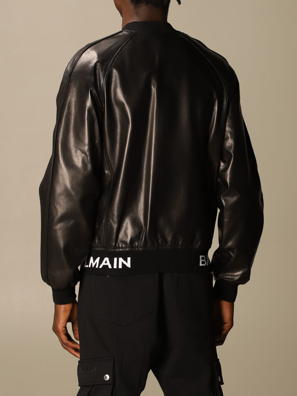 Jacket Balmain: Balmain leather bomber jacket with logo band black 3