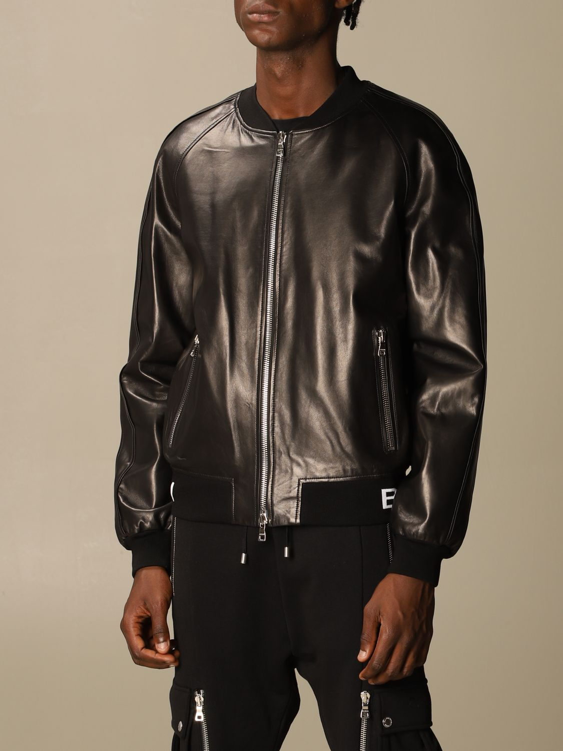 Jacket Balmain: Balmain leather bomber jacket with logo band black 4