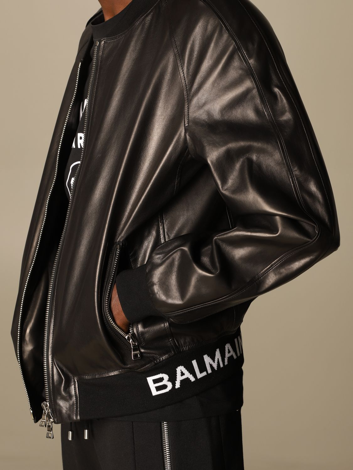 Jacket Balmain: Balmain leather bomber jacket with logo band black 5