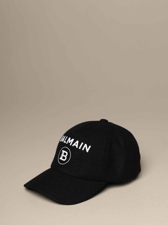 Hat Balmain: Balmain wool baseball cap black 1