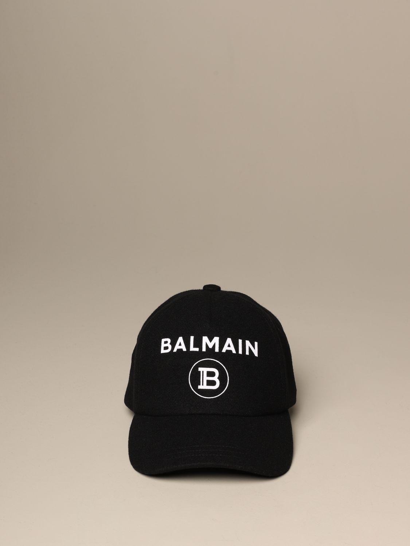 Hat Balmain: Balmain wool baseball cap black 2