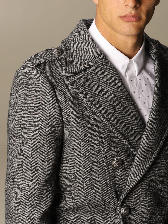 Coat Balmain: Balmain double-breasted coat in houndstooth wool blend black 5