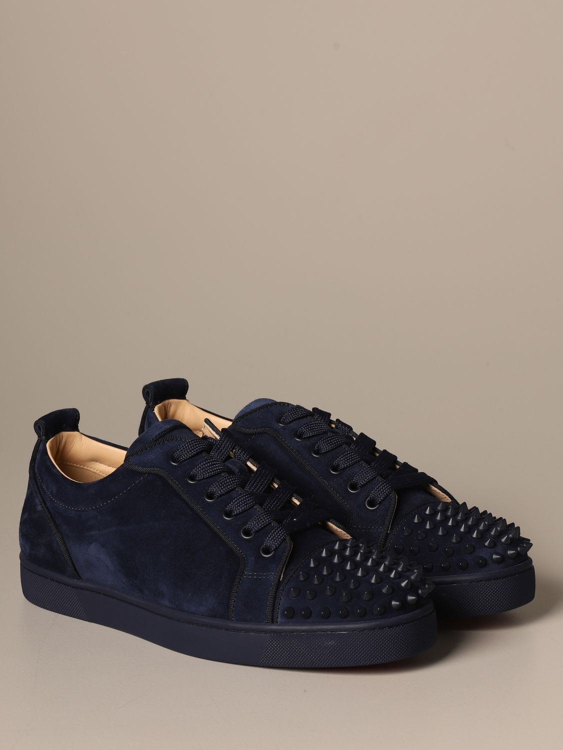 Sneakers Christian Louboutin: Louis Junior Christian Louboutin sneakers in suede with studs blue 2