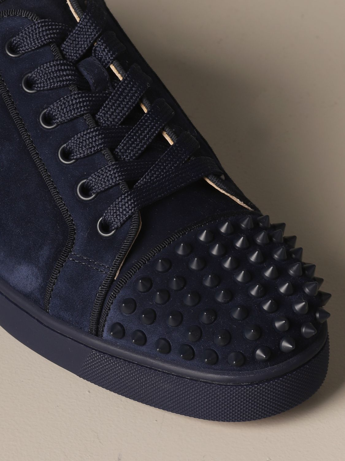 Sneakers Christian Louboutin: Louis Junior Christian Louboutin sneakers in suede with studs blue 4