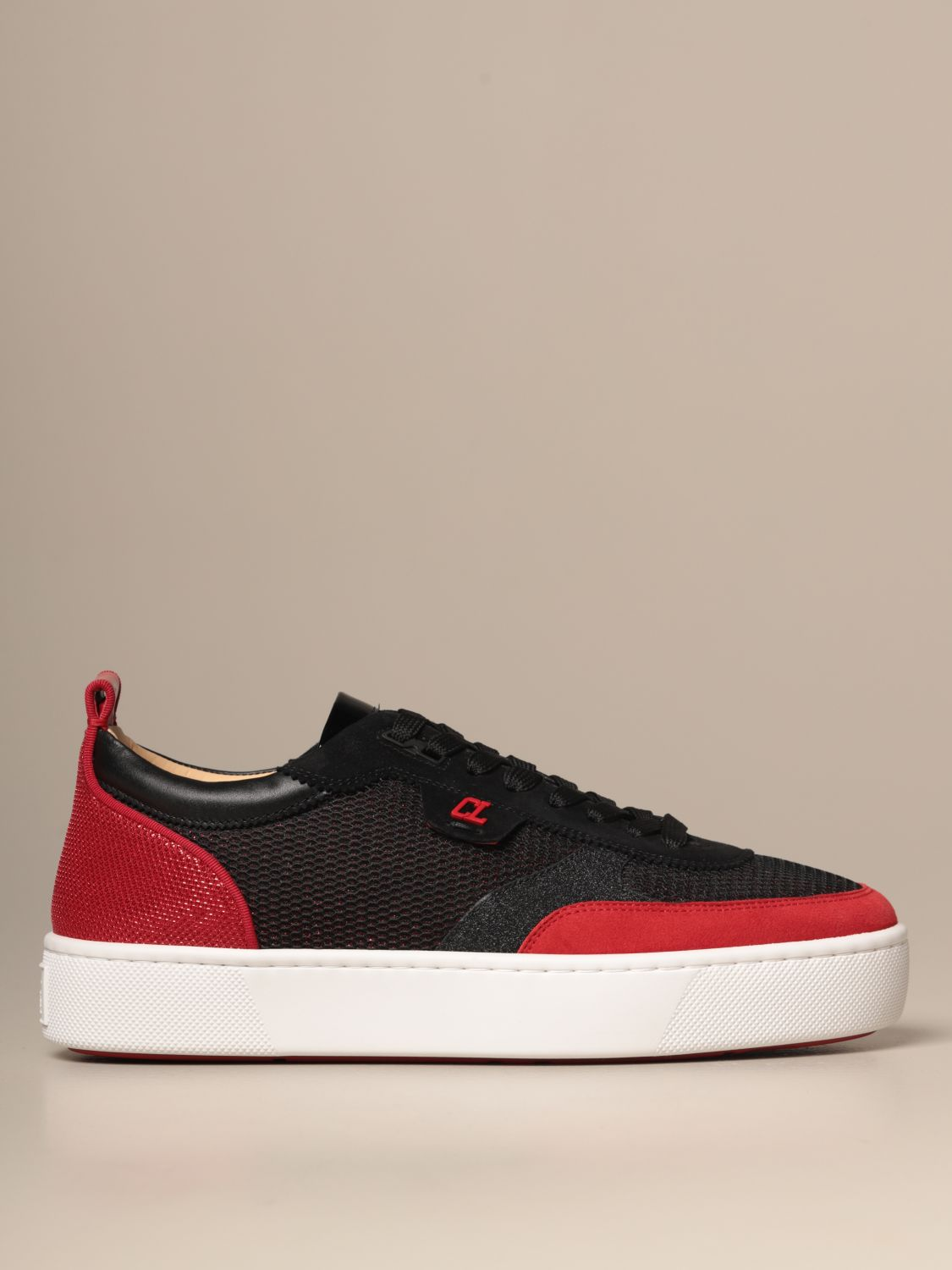 Sneakers Christian Louboutin: Happy rui Christian Louboutin sneakers in suede leather and two-tone mesh black 1