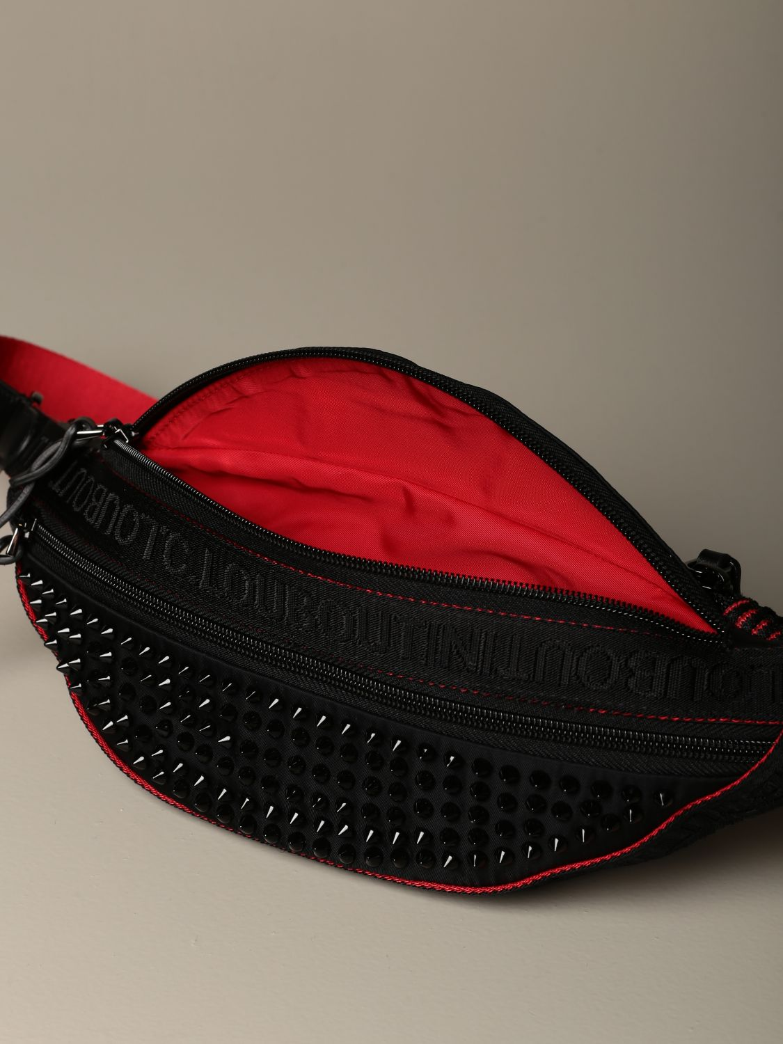 Belt bag Christian Louboutin: Parisnyc Christian Louboutin pouch in nylon with studs black 4