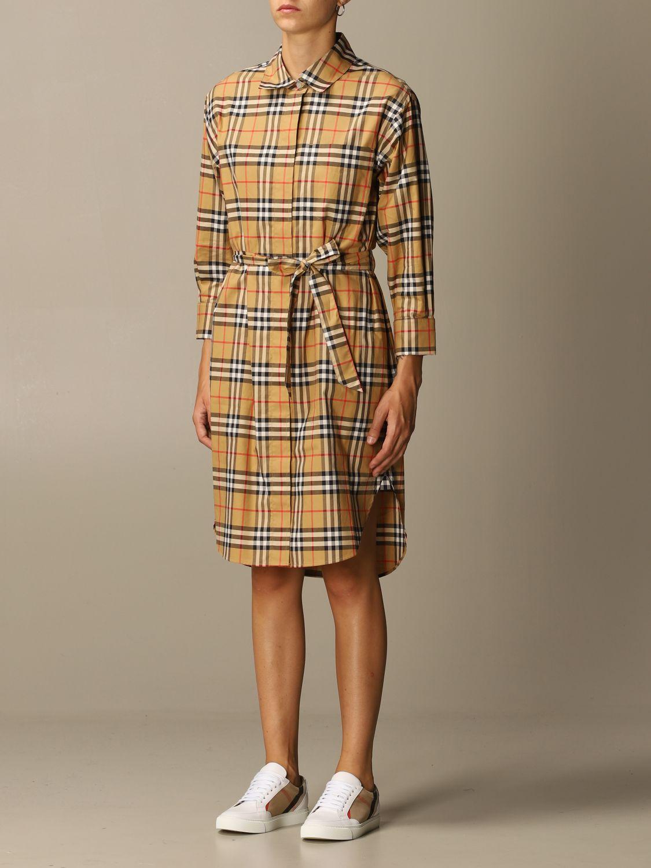 Платье Burberry: Платье Женское Burberry бежевый 4