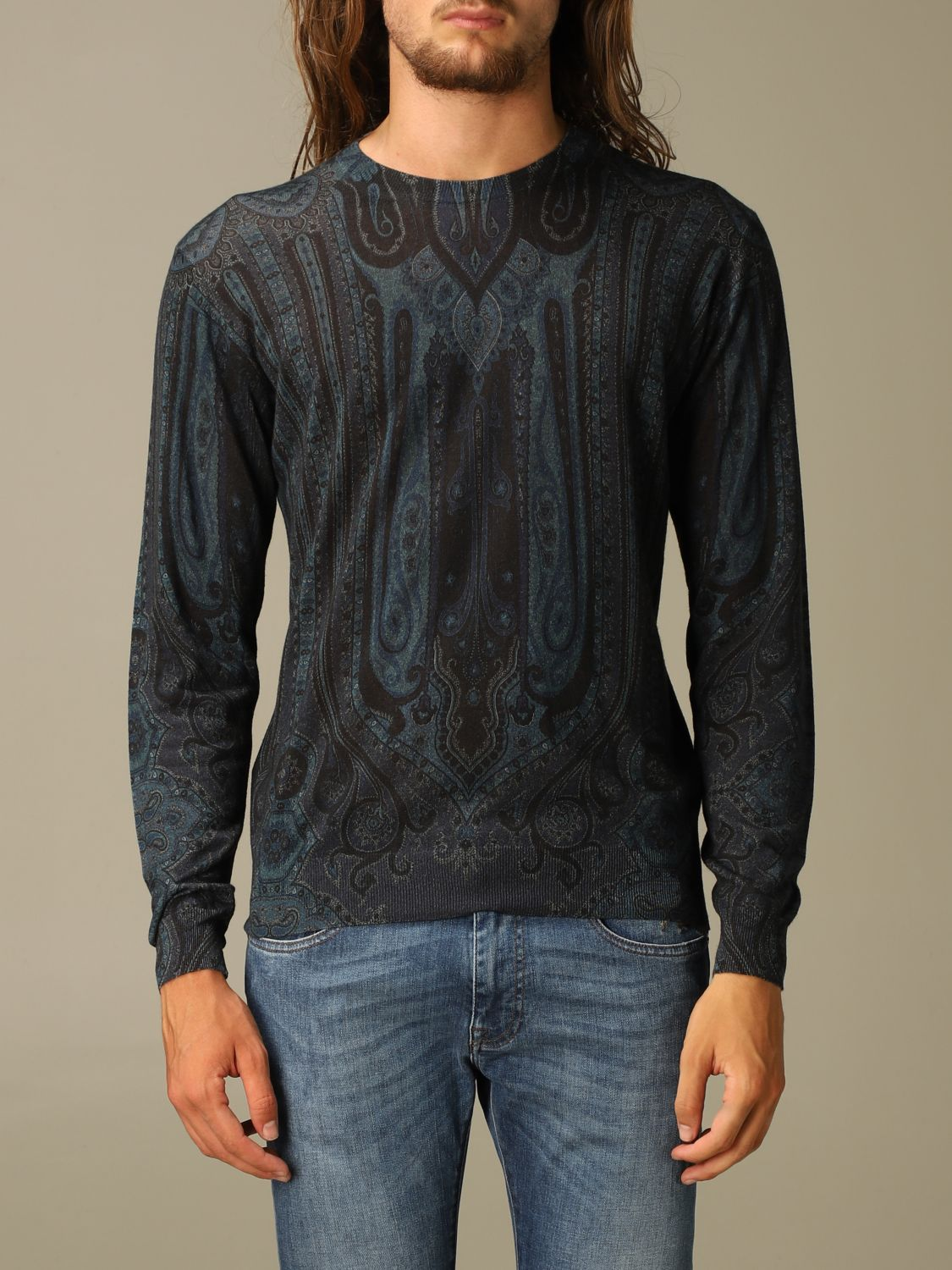 Sweater Etro: Etro sweater in silk and paisley chasmere blue 1