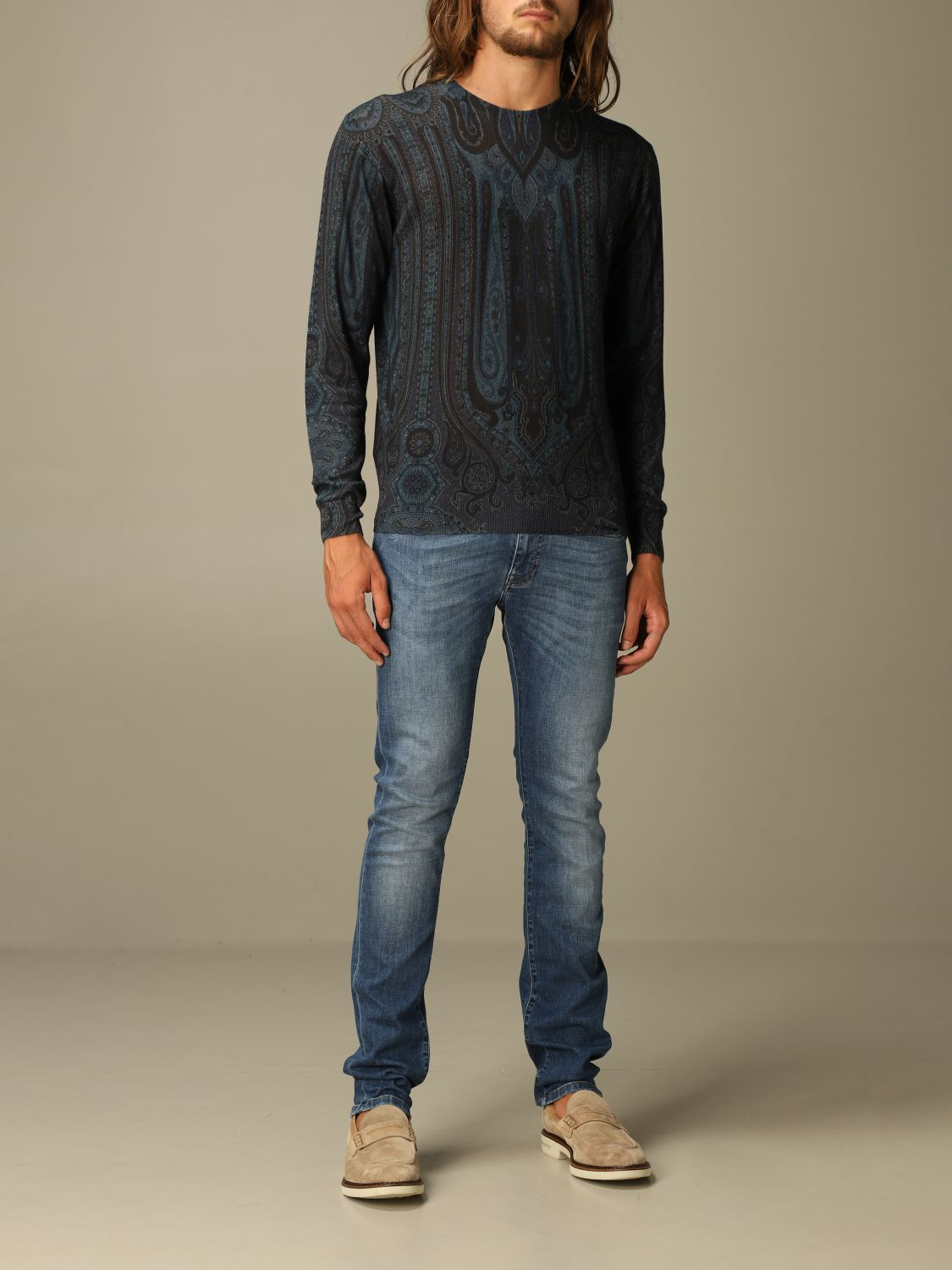 Sweater Etro: Etro sweater in silk and paisley chasmere blue 2