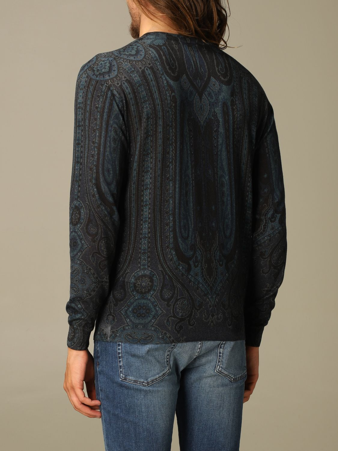 Sweater Etro: Etro sweater in silk and paisley chasmere blue 3