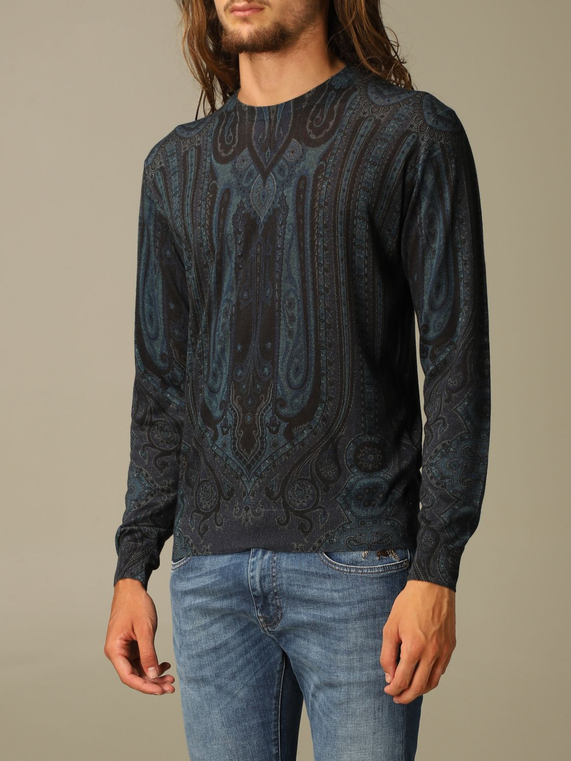 Sweater Etro: Etro sweater in silk and paisley chasmere blue 4