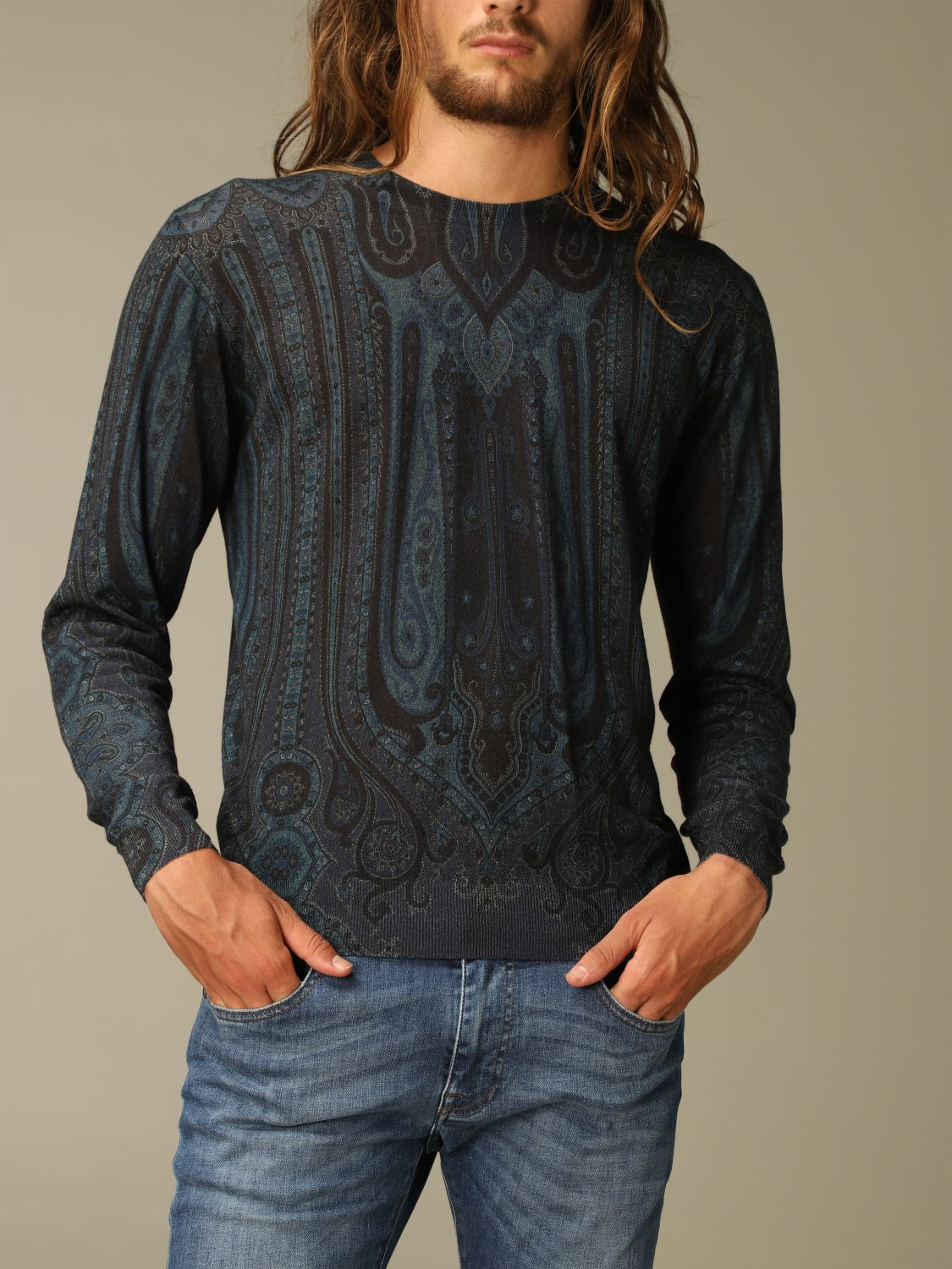 Sweater Etro: Etro sweater in silk and paisley chasmere blue 5