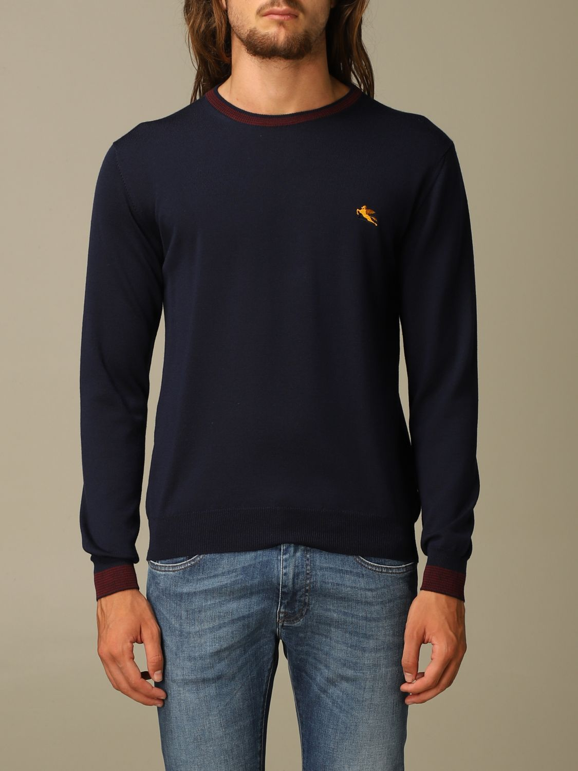 Sweater Etro: Etro wool sweater with embroidered Pegasus navy 1