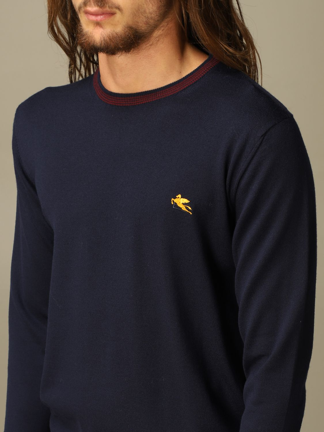 Sweater Etro: Etro wool sweater with embroidered Pegasus navy 3