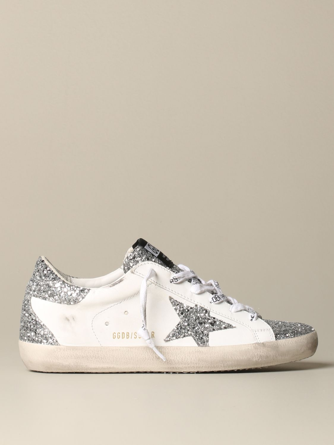 Golden Goose Superstar classic sneakers in leather and glitter