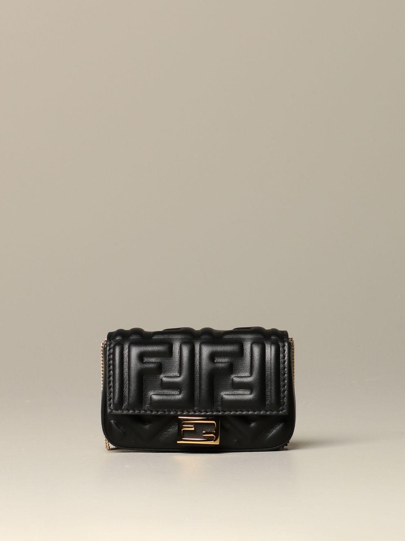Mini sac à main Fendi: Sac en cuir Baguette nano Fendi avec logo FF gaufré noir 1